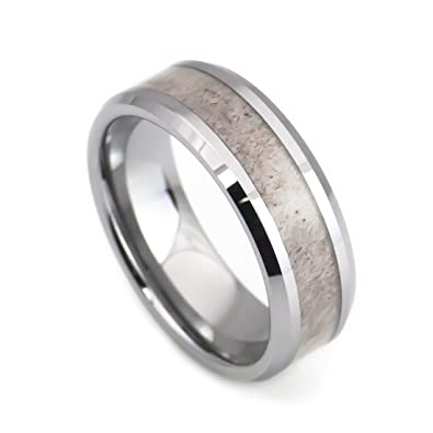 deer antler inlay men n women tungsten wedding rings water proof wedding band 55 - Tungsten Wedding Rings For Men
