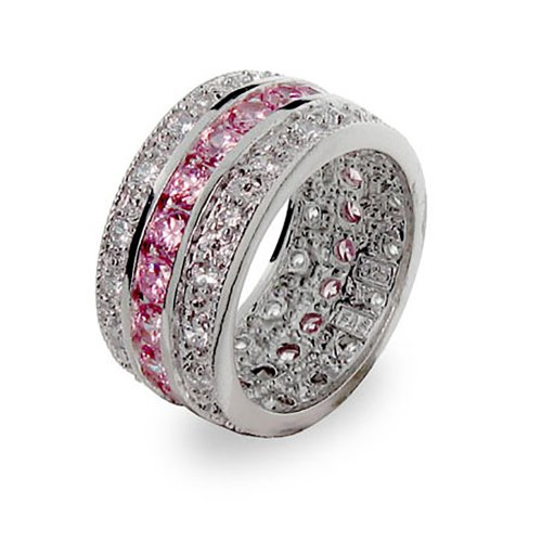 Pink-and-White-Cubic-Zirconia-Cubic-Zirconia-Ring-in-Sterling-Silver
