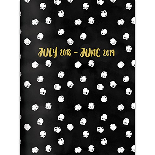 TF Publishing 19-4221A July 2018 – June 2019 Dots Monthly Planner, 7.5 x 10.25″, Black, White & Gold
