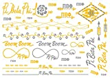 A-List Greek Metallic Temporary Tattoos - Pi Beta Phi Gold, Silver Sorority Symbols, Arrow, Carnation, Rings, Bracelets, Necklaces | Premium Body Jewelry 2 Sheets Tattoo Set
