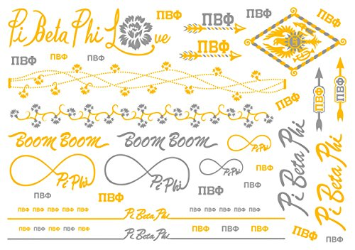 (A-List Greek Metallic Temporary Tattoos - Pi Beta Phi Gold, Silver Sorority Symbols, Arrow, Carnation, Rings, Bracelets, Necklaces | Premium Body Jewelry 2 Sheets Tattoo)