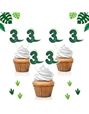 18pcs Dinosaur Number 3 Cupcake Toppers - Jungle Jurassic Party Glitter Baby Dinosaur Party Supplies - Novelty Boy's 3rd Birthday Decoration Favors