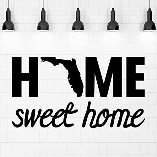 (Home Sweet Home State of Florida Silhouette Vinyl Wall Art Decal For Living Dining, Family Room, or Entryway Decor)