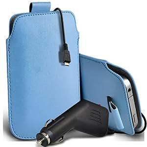 Samsung Galaxy Core Plus G3500 Protección Premium de PU Leather Tire Cord Tab Slip In Pouch Pocket piel con 12v USB Micro Cargador para el coche del bebé azul por Spyrox