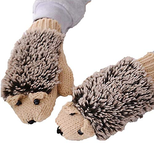 Pusheng Women Winter Cartoon Gloves Thick Knit Hottest Hedgehog Mittens (Beige)