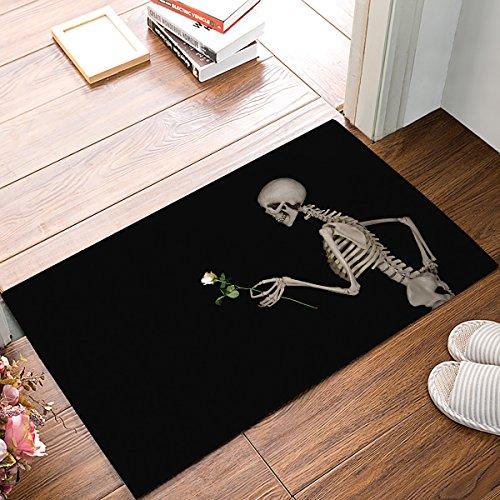 KAROLA Doormats Entrance Mat Floor Rug Indoor/Outdoor/Front Door/Bathroom Thin Mats Rubber Non Slip Welcome Mat Skull -