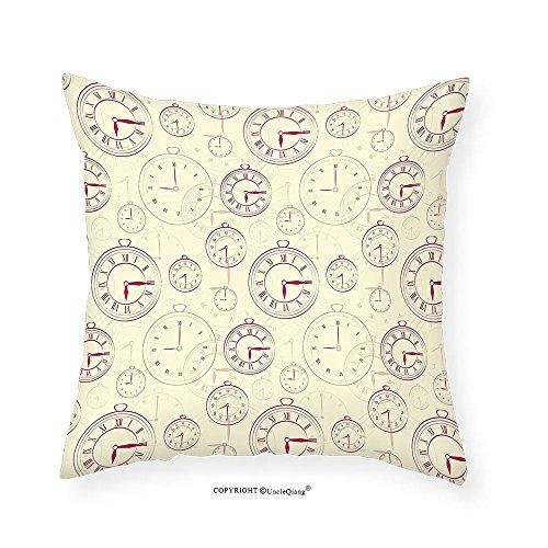 VROSELV Custom Cotton Linen Pillowcase Clock Decor Vintage Watches with Roman Digits Wallpaper Pattern Decorative Illustration for Bedroom Living Room Dorm Cream Maroon 18