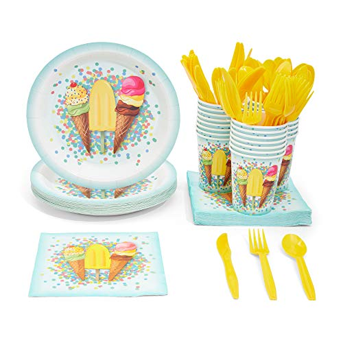 Ice Cream Party Supplies, Paper Plates, Napkins, Cups and Plastic Cutlery (Serves 24, 144 Pieces)