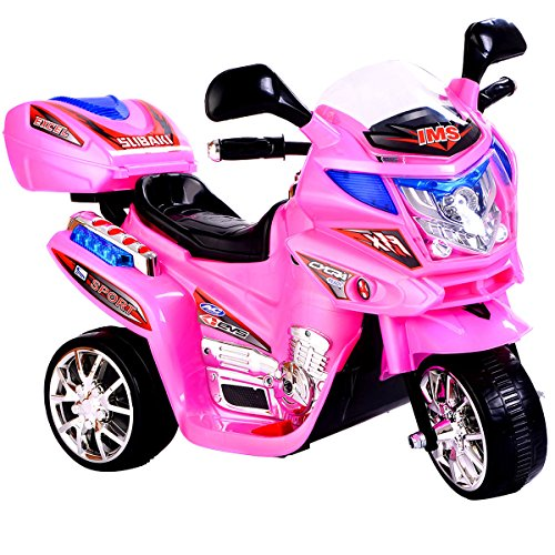 Globe House Products GHP Kids 55-Lbs Capacity 3 Km/Hr Speed Pink 3-Wheeled Plastic Ride On Motorcycle ()