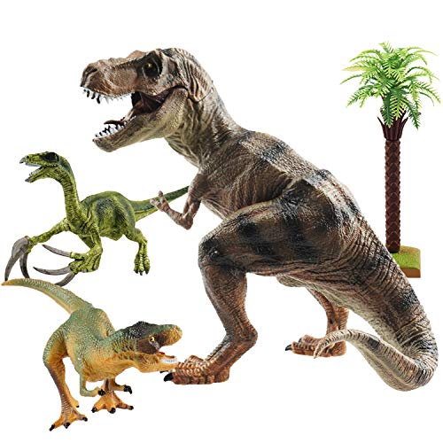 - Large Dinosaurs Toy Set,Educational Tyrannosaurus Rex Dino Model Playset,Make Your Own Jurassic World Birthday Gift For Boy Kids Movable Jaw Scientific Action Figure Pack of 4