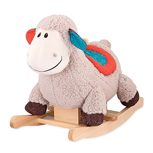 B. toys by Battat - Loopsy Wooden Rocking Sheep - Rodeo Rocker - Bpa Free Plush Ride On Sheep Rocking Horse for Toddlers & Babies 18M+, Multicolor (Rocking Traditional Horses Wooden)