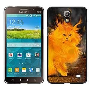 EJOY---Cubierta de la caja de protección para la piel dura ** Samsung Galaxy Mega 2 ** --Gato Fuego Pintura del corazón Llamas Amarillo