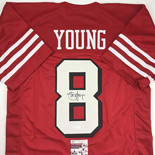 Autographed/Signed Steve Young San Francisco Red Shadow Football Jersey JSA COA