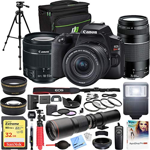 Canon EOS Rebel SL3 DSLR 24.1MP 4K Video Camera + EF-S 18-55mm is STM Lens Black Bundle with EF 75-300mm F4-5.6 III Telephoto Zoom Lens, 500mm Preset Telephoto Lens and Accessories (18 Items)