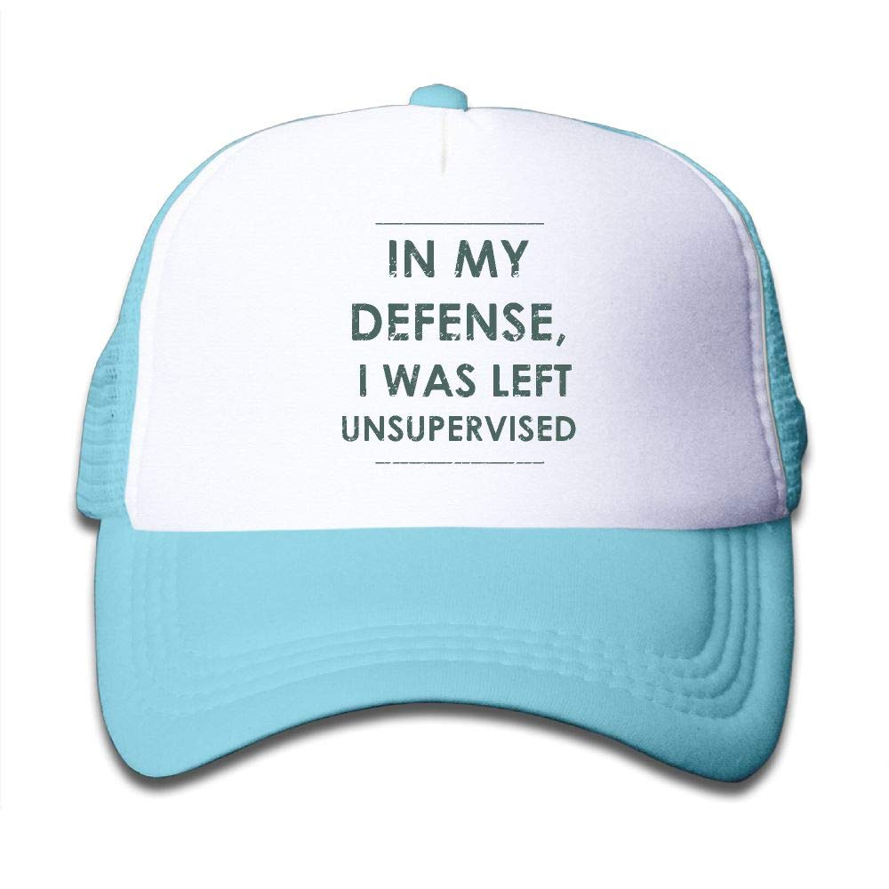 NO4LRM Kid's Boys Girls in My Defense I was Left Unsupervised Youth Mesh Baseball Cap Summer Adjustable Trucker Hat