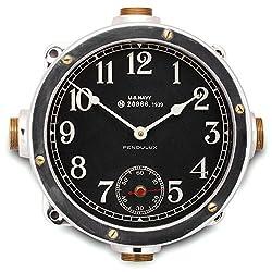 Pendulux Heavy Cast Aluminum Navy Master Clock, Elegant Reproduction of a 1939 United States Navy Ship Wall Clock - 12 diameter