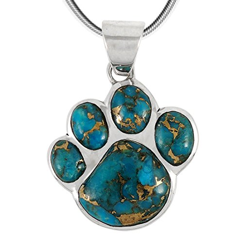 Dog Paw Sterling Silver Pendant - Dog Paw Pendant Necklace 925 Sterling Silver & Genuine Turquoise (20