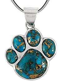 Dog Paw Pendant Necklace in 925 Sterling Silver with...
