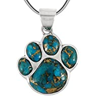 Dog Paw Pendant Necklace in 925 Sterling Silver with Genuine Turquoise