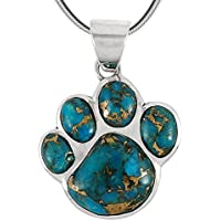 "Dog Paw Pendant Necklace in 925 Sterling Silver with Genuine Turquoise (20"" Length)"