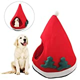 Christmas Tree Shape Dog Kennel With Pad Soft Warm Short Plush Cat House – Santa Hat Type Cat Cave Bed with Mat Medium Dog Kennels – Puppy Kitten Bed Cover Cage Nest for Winter Pet Sleeping - Washable
