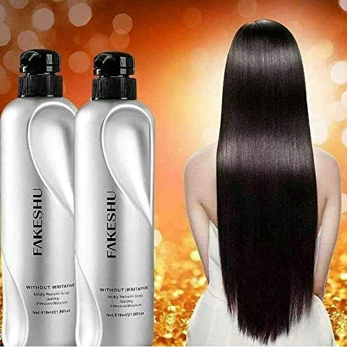 (Size 618 ml X 2 Bottles) Fakeshu Keratin dry damaged hair repair Treatment Keratin Treatment 100% pure glass hair treatment for damaged hair. by Fakeshu Keratin Smooth Hair Cream