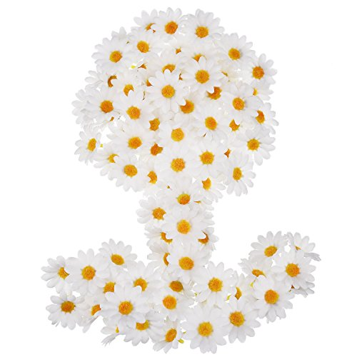 WILLBOND 100 Packs White Fabric Daisy Flower Heads Fake Flowers 4 cm Artificial Daisies Craft for Easter Bonnet Wedding Party Decorations