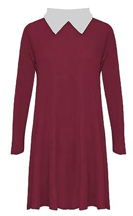 360c2d7d8b01 Papaval Girls Kids Peter Pan Collar Long Sleeve Flared Swing Dress Top White-Collar   Amazon.co.uk  Clothing