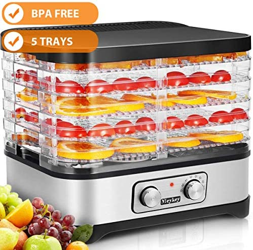 Food Dehydrator Machine, 5 Dryer Trays -BPA Free Drying System With Nesting Tray – For Beef Jerky Preserving Wild Food and Fruit Vegetable Dryer in Home Kitchen Button 5-Tray