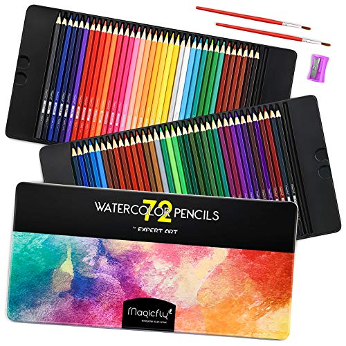 Magicfly Watercolor Pencils Set, 72 Professional Colored Pencils Set Premier Soft Lead with 2 Brushes & Pencil Sharpener…