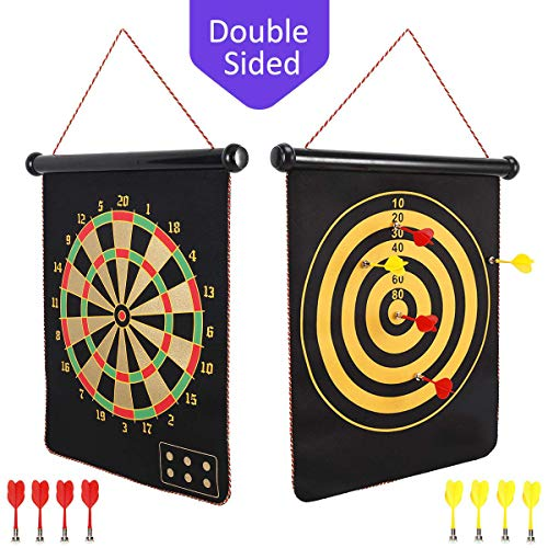 BabyNora Magnetic Dart Board, 15″ Double-Sided 2 Magnetic Dart Game Set with 8 Magnetic Darts Safety, Indoor Outdoor Games Office Sport Leisure Board Games for Adults Kids