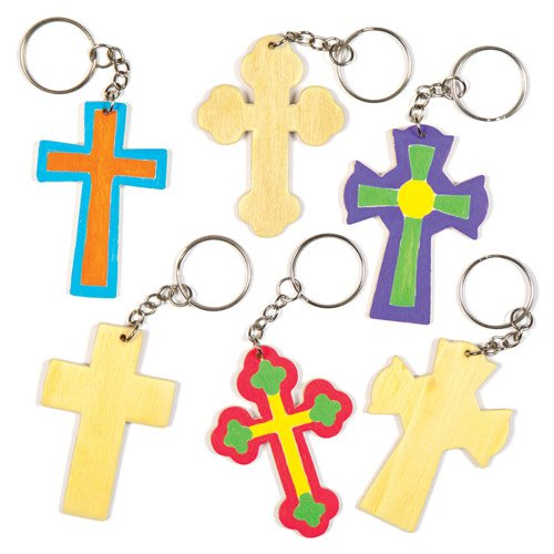 Baker Ross Cross Wooden Keyring Kits for Children to Paint & Decorate - Make Your Own Creative Easter Christian Craft Set (Pack of 4)