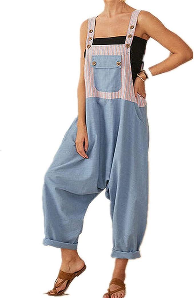 Damen Latzhose Overall Freizeit Baggy Baumwolle Linen Trägerhose Lässig Hosen