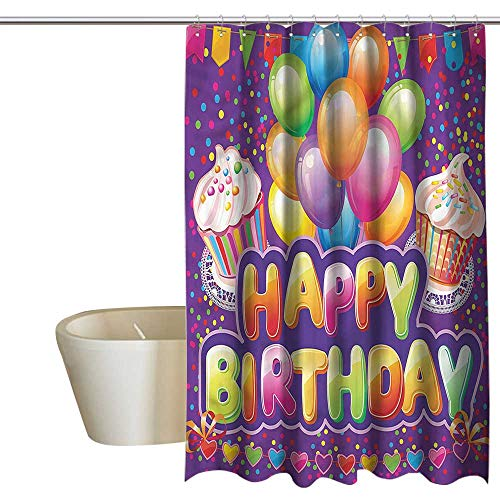 RenteriaDecor Shower Curtains Tumblr Birthday,Cupcake Hearts Balloons,W55 x L84,Shower Curtain for -