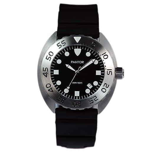 Reloj de Buceo Pantor Nautilus 515. Reloj de Buceo de Cuarzo Suizo de 200 m, 45 mm, con Bisel Giratorio y Correa de Goma: Amazon.es: Relojes