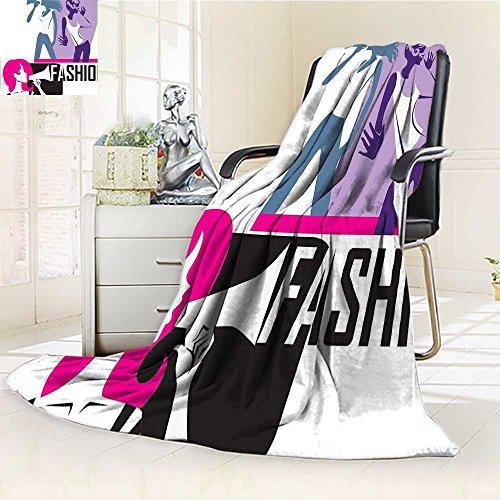 YOYI-HOME Soft Warm Cozy Throw Duplex Printed Blanket of Girls Yelling into Megaphone Modern Stylish Fashion Themed Art Print Purple Black Fuzzy Blanket s for Bed or Couch/W59 x H47