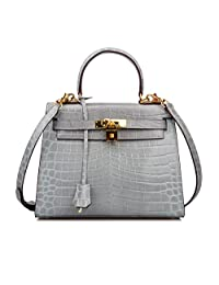 Ainifeel Women's Padlock Crocodile Embossed Patent Leather Shoulder Handbags