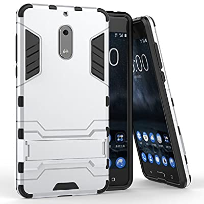 Nokia 6 Case, MicroP Dual Layer Armor Hard Slim Hybrid Kickstand Phone Cover Case for Nokia 6 by MicroPioneer Inc