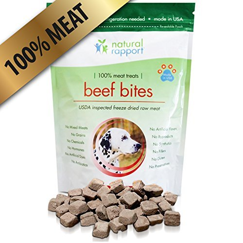 Natural Rapport Dog Treats for Small and Large Dogs, Dog Training Treats, Grain-Free Dog Treats, Beef Bites, Dog Snacks, Dog Chews with USDA-Inspected Meat, Freeze Dried Dog Treats Buddy Bits Dog Training Treats