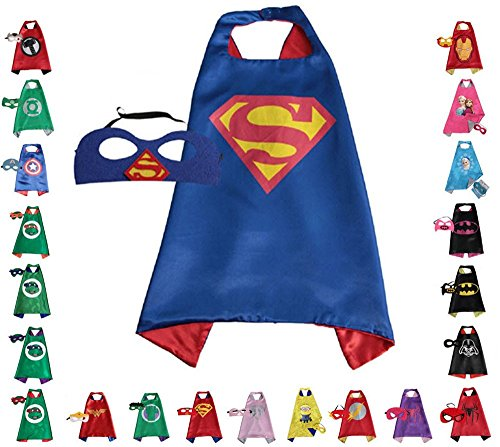 FAJ Super Hero Cape and Mask, Children, Boys, Girls Dress Up Costume -