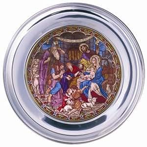 """""""Los Pastores en Belén"""" Belén Jefferson peltre y cristal tintado Navidad placa hecha a mano en los Estados Unidos"""