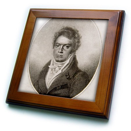 8 by 8-Inch German Composer Engraving Hi13 Pri0370 Prisma Framed Tile 3dRose ft/_83169/_1 Ludwig Van Beethoven