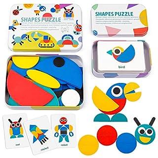 Coogam Wooden Pattern Blocks - Tangram Shape Puzzle Set Color Sorting Stacking Game Wood Animal Jigsaw Preschool Montessori Brain Teaser STEM Gift for 3 4 5 Years Old Toddler Kid ( 60 Pattern Cards )