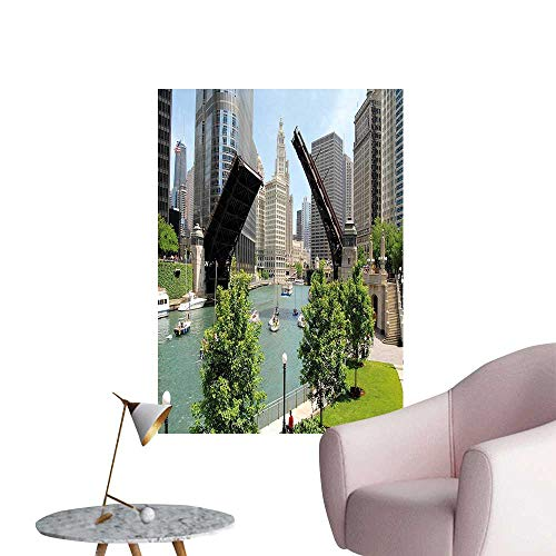 (Vinyl Artwork Chicago Ill ois ance Bus Center Michigan Avenue Bridge Easy to Peel Easy to Stick,16