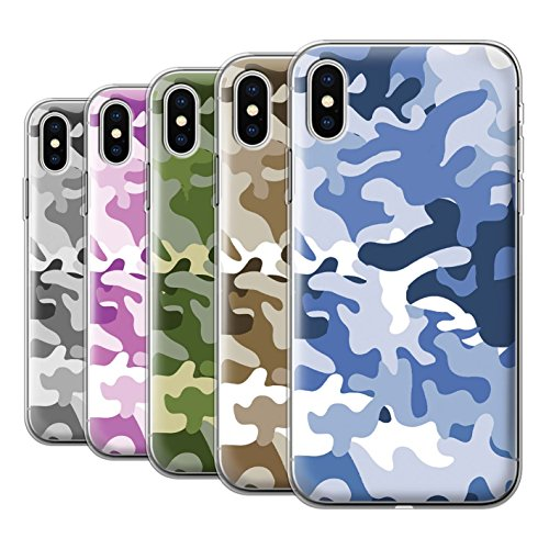 Stuff4 Gel TPU Hülle / Case für Apple iPhone X/10 / Multipack / Armee/Tarnung Kollektion