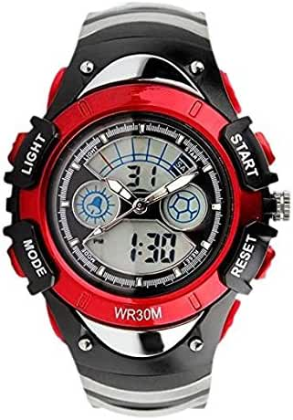 ALPS Kids Watches LED Digital Boys Girls Waterproof Watches (Red)