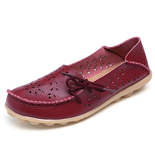 Womens Casual Cut Out Cowhide Leather Loafer Flat Shoes Redwine