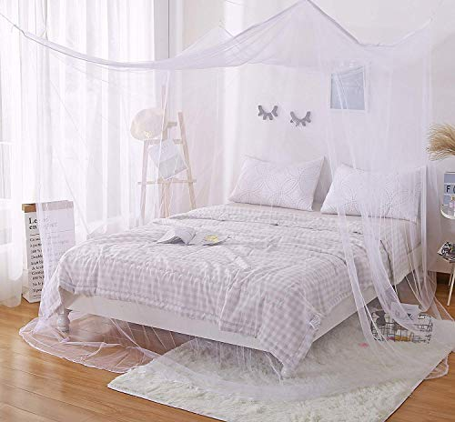 Faswin Rectangular Fine Mesh Mosquito Net for Double Bed, Two Openings Insect Protection Repellent, Including Hanging Kit and Carry Bag, Perfect for Indoors and Outdoors