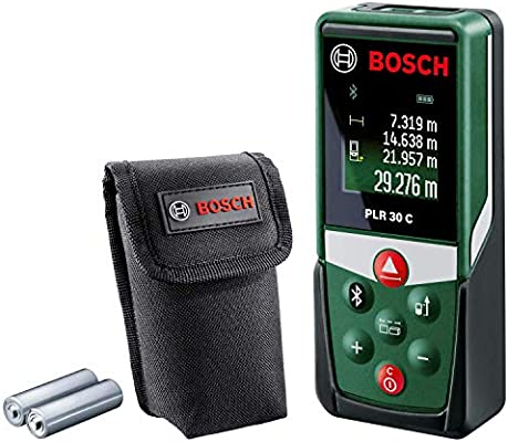 Bosch Digital Laser Distance Measure PLR 30 C (with App Function, Measuring  up to 30 m, Protective Case, 3 x AAA Batteries Included, in Box)