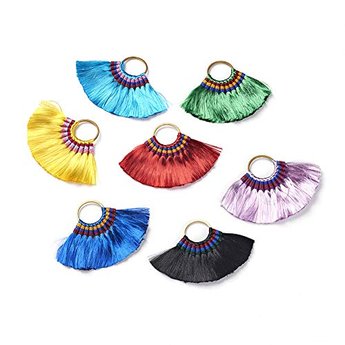 Fashewelry 10Pcs Random Mixed Colors Polyester Dangle Fan Tassels Big Pendants with Brass Hanging Loops 57~58x80~90mm for Earring Jewelry Bookmarks Making Souvenir Craft